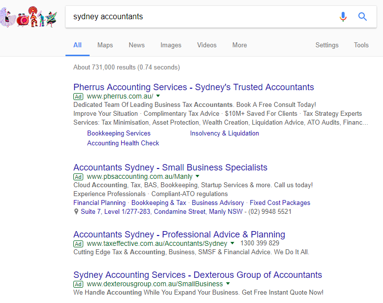 Adwords Sydney accountants